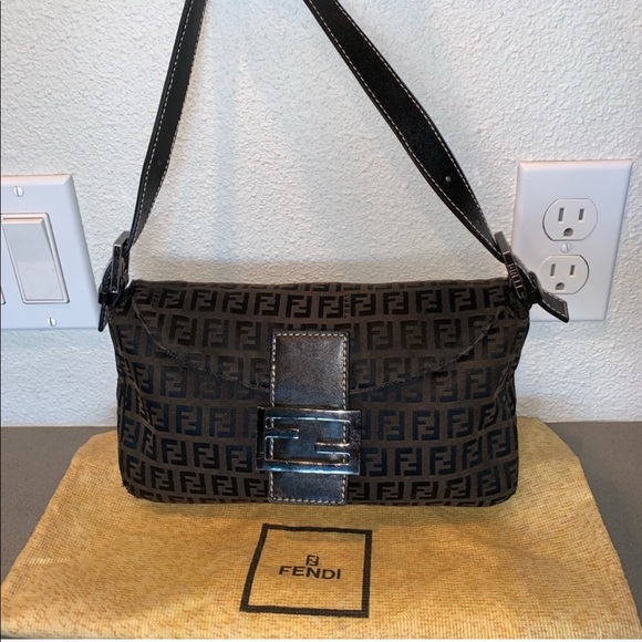 Fendi Handbags - Fendi zucca baguette mini shoulder bag